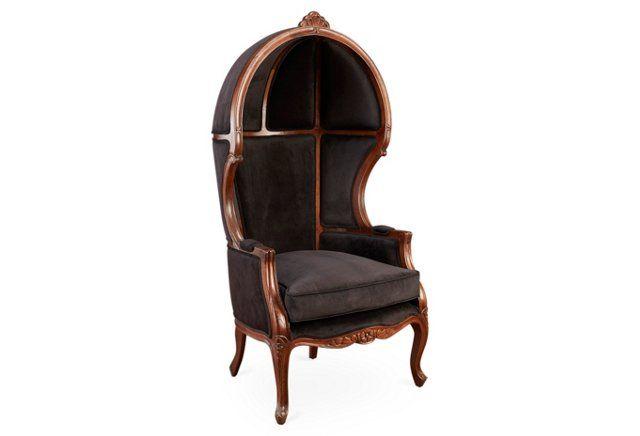 Best Mirabel Canopy Chair Black Velvet Luxury Chairs Velvet 400 x 300