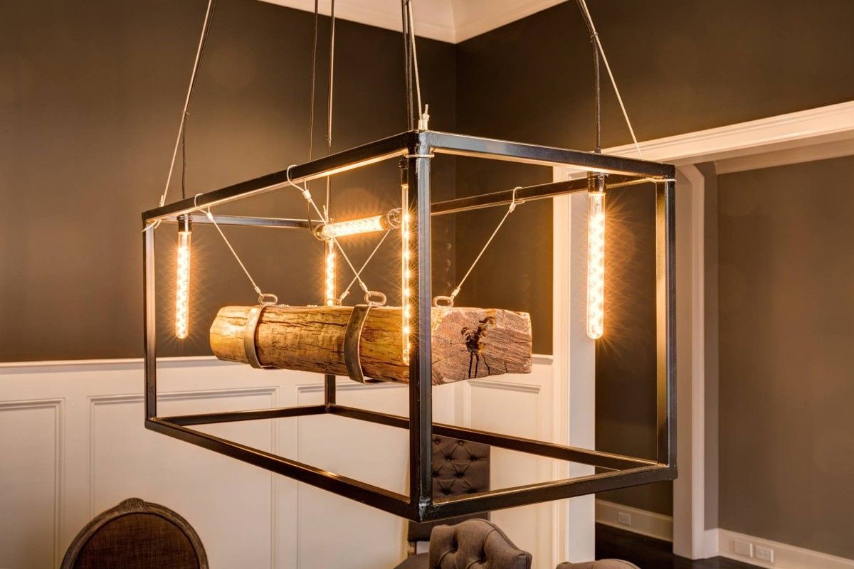 Custom light fixture made by artisan david carroll metal edison lights wood handmade artisan
