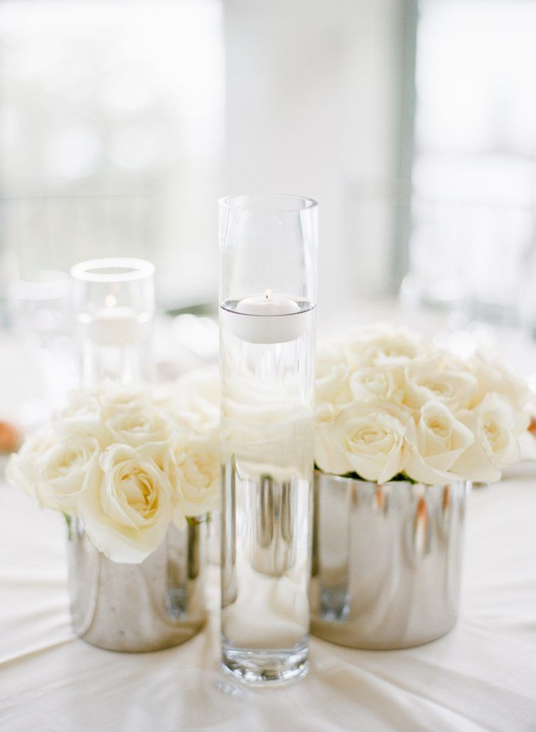 Romantic White Rose Low Centerpiece In Silver Cylinder Vase With