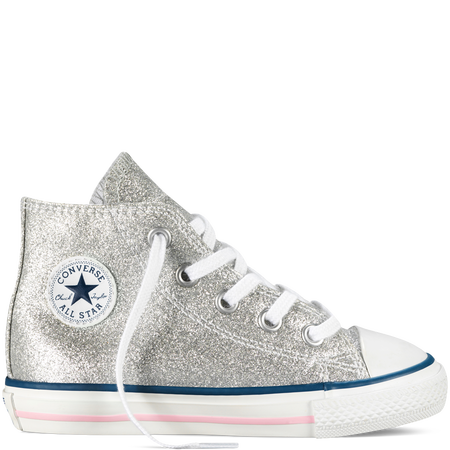 137e84be4ada Converse - Chuck Taylor All Star Glitter Side Zip Tdlr Yth - Silver Glitter  - Hi Top