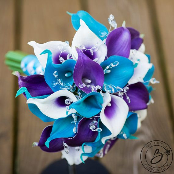 Peacock Lilies Turquoise And Royal Purple Wedding Bouquet With