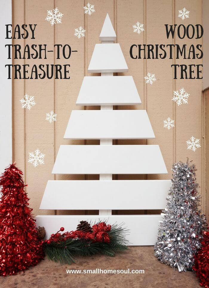 Wooden christmas tree a fun diy project trim board wooden diy wooden christmas tree made from scrap pieces of trim board solutioingenieria Choice Image