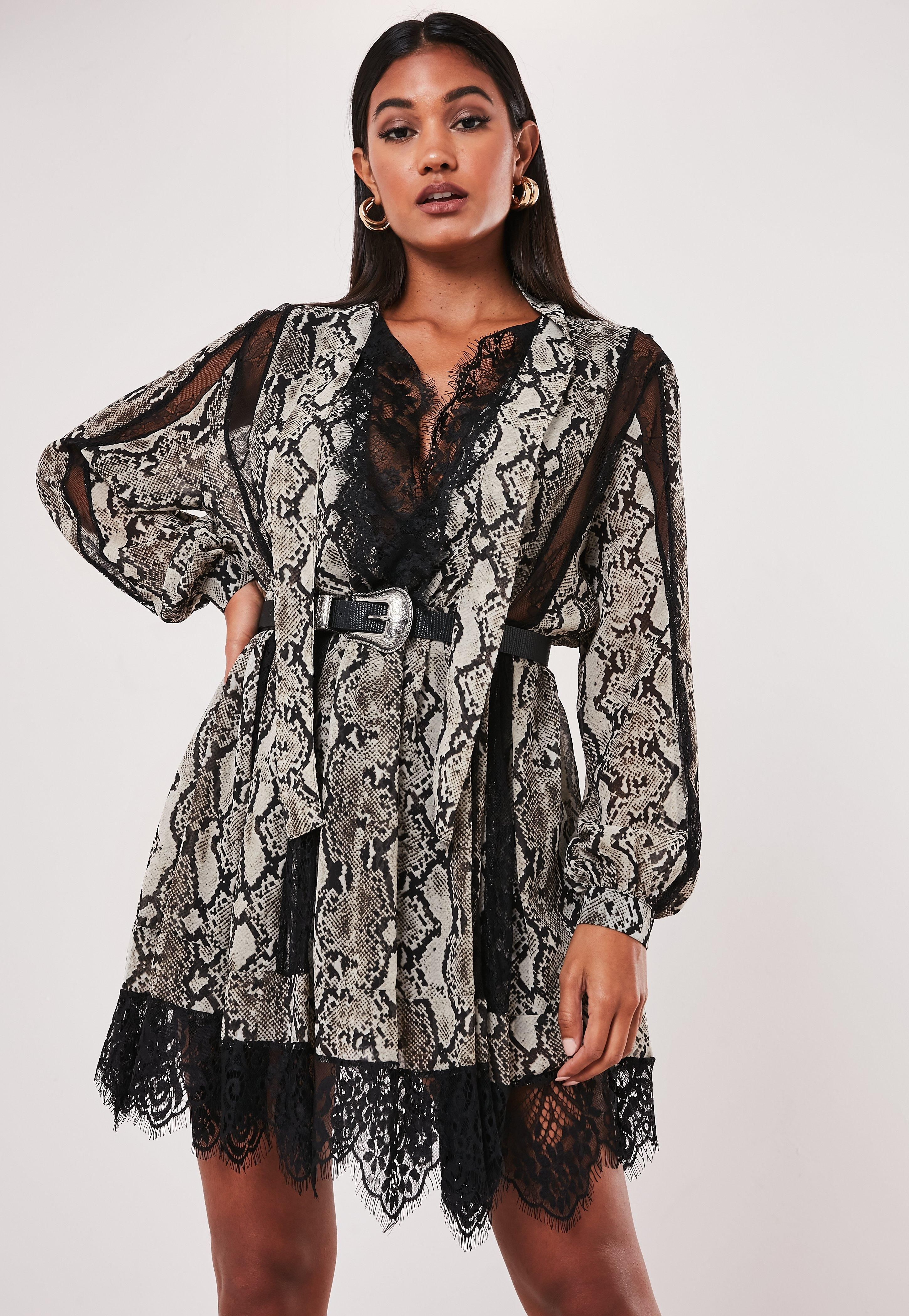 Missguided Gray Snake Print Chiffon Lace Trim Mini Dress Print Chiffon Dress Print Chiffon Mini Dress [ 4200 x 2900 Pixel ]