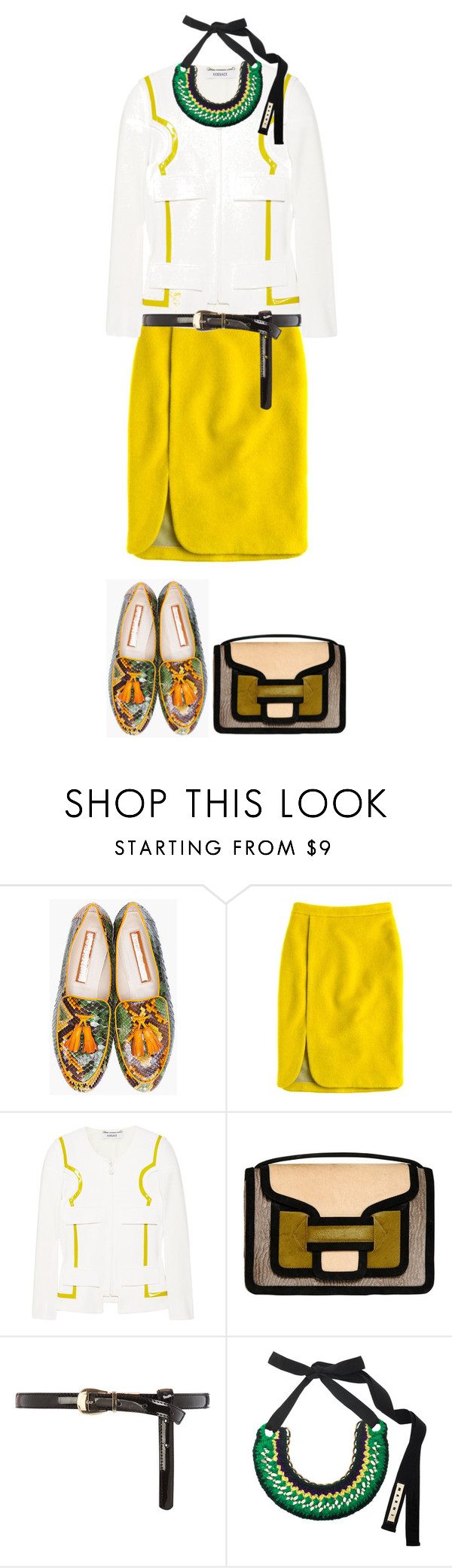 """Bez tytułu #477"" by agniecha ❤ liked on Polyvore featuring Rupert Sanderson, J.Crew, Versace, Pierre Hardy, Dorothy Perkins and Marni"