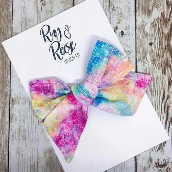 Watercolor Bow, Rainbow Watercolor Hair Bow, Spring Bow, Newborn Headband, Toddler Bow Clip