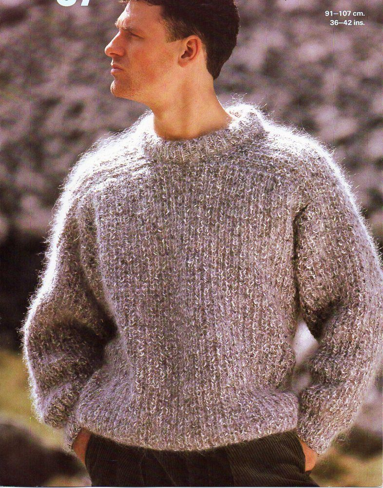 Mens fishermans rib mohair sweater knitting pattern pdf ...