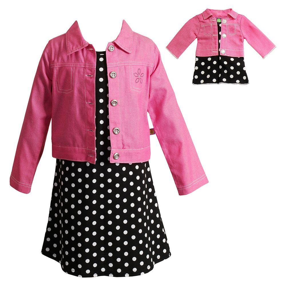 Dollie /& Me Knit Dress SET Blue Sparkle Black Ruffle Skirt girls 12