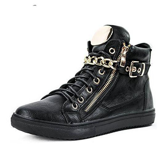 fashionfolie, Damen Sneaker Schwarz schwarz