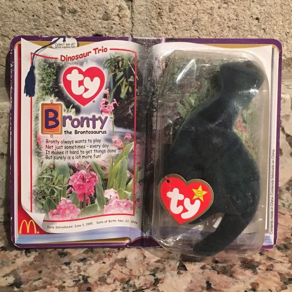 Bronty the Brontosaurus McDonalds Legends ty Teenie Beanie Babies 2000  Ty 72a372518c2