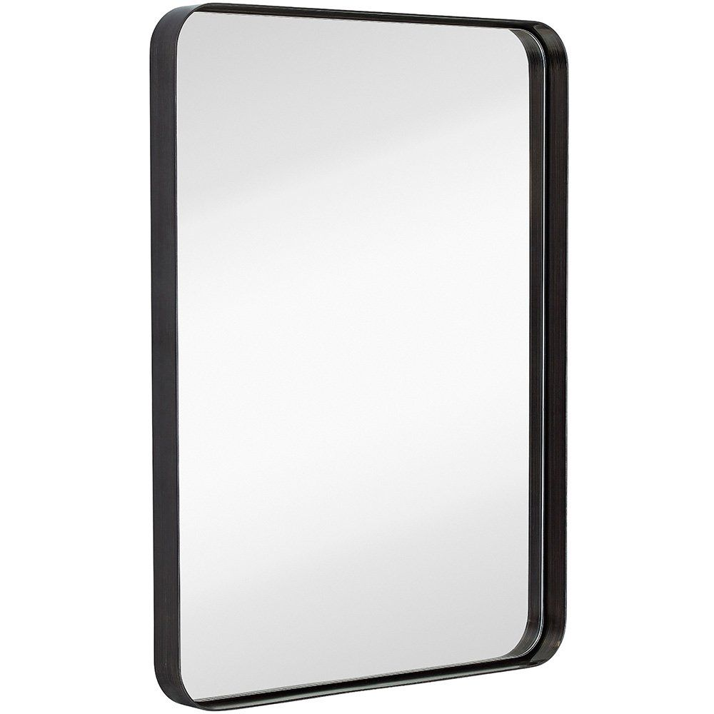 Amazon Com Hamilton Hills Contemporary Brushed Metal Wall Mirror Glass Panel Black Framed Rounded C Black Mirror Frame Framed Mirror Wall Powder Room Mirror