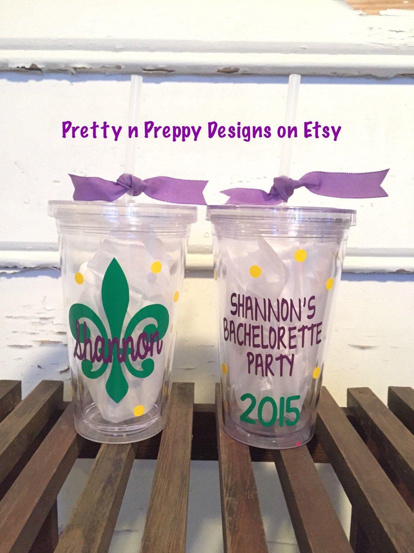 New Orleans style/Mardi Gras/fleur de lis bachelorette Party tumbler perfect for…