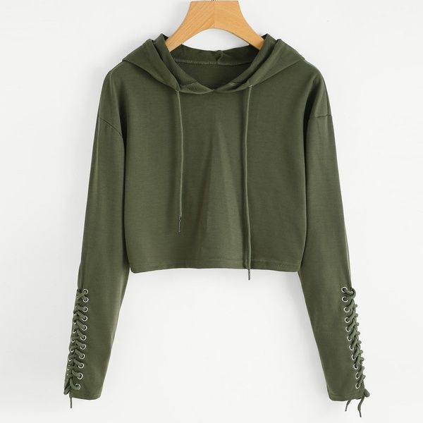 NEW Arrival Women Hoodie Sweatshirt Jumper Sweater Crop Top Coat Sports Pullover Tops ( army green) | Wish