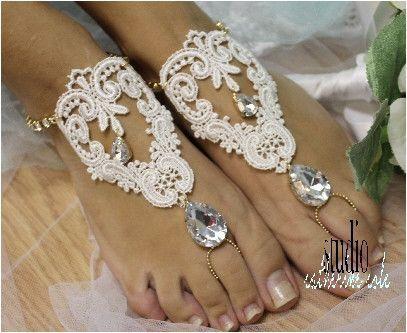 barefoot sandals, beach, barefoot sandle, wedding, rhinestones, barefoot sandal, foot jewelry, bridal, ROMANTIC gold rhinestone ivory lace   BF30