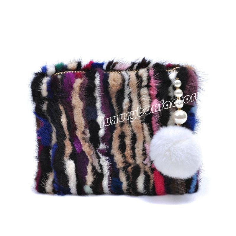 dc0411b0cc Designer Multi Color Genuine Mink Fur Bag Trendy Women Clutch Handbag  Runway Purse Bolsa 2 Style Free Shipping