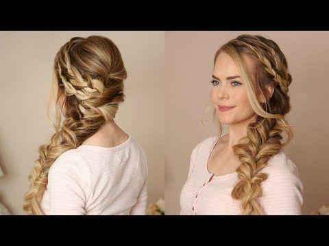 Braided Side Swept Prom Hairstyle Missy Sue Youtube Side Swept Braid Hairstyles Bridesmaid Hair Side Wedding Hair Side