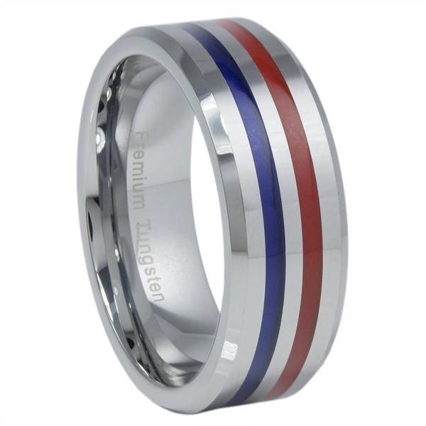 Thin Blue Line Ring Tungsten Jewelry Police Carbide Red And