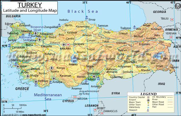 Turkey latitude and longitude map httpmapsofworld turkey latitude and longitude map gumiabroncs Images