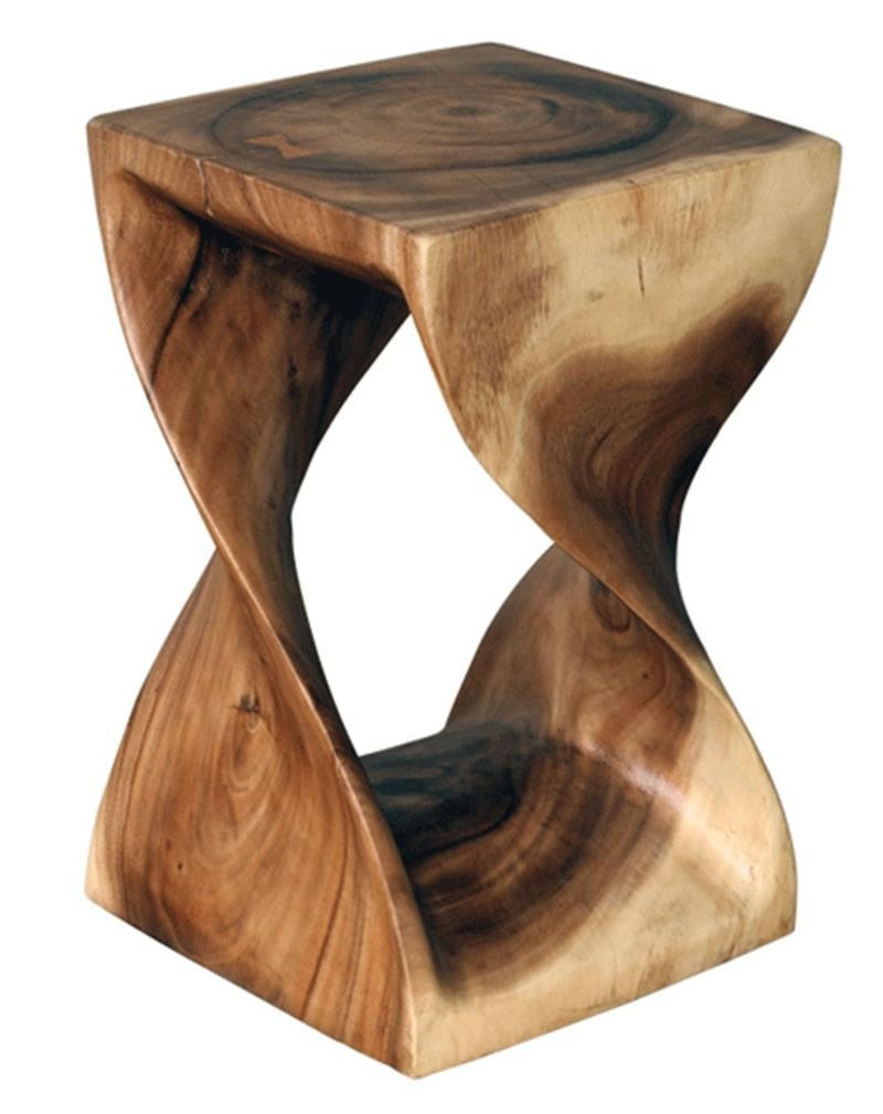 Modern wood table design - Rustic Contemporary Wooden Stools Design For Home Outdoor Furniture By Asian Art Import Twist Stools