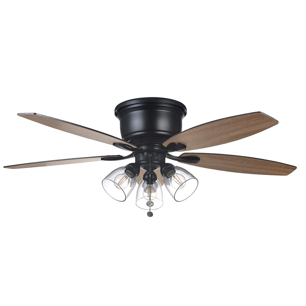 Hampton Bay Stoneridge 52 In Matte Black Hugger Led Ceiling Fan With Light Kit 51829 The Home De Ceiling Fan With Light Led Ceiling Fan Ceiling Fan Makeover