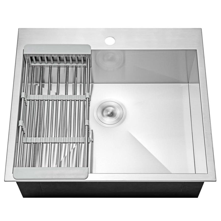 Akdy Handmade Drop In 25 In X 22 In Stainless Steel Single Bowl 1 Hole Kitchen Sink All In One Kit Lowes Com Sink Top Mount Kitchen Sink Stainless Steel Texture