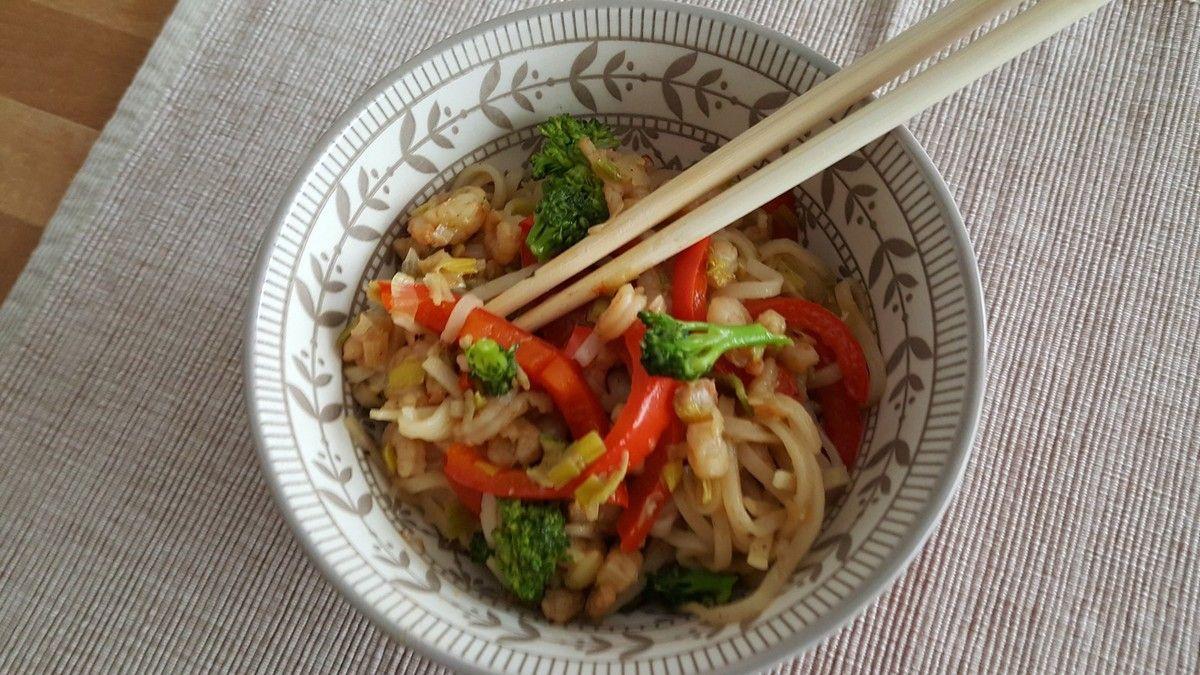 Wok légumes crevettes façon thaï