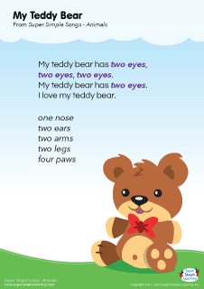 Lyrics Poster For My Teddy Bear Animal Song From Super