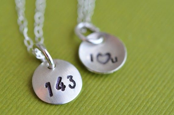 tiny 143  (i love you)  hand stamped necklace by muyinmolly