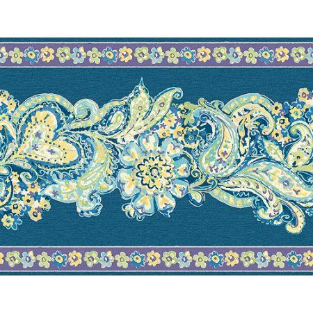 Blue Mountain Paisley and Floral Panel Wallcovering, Deep Blue/Purple/Bright Blue/Green, Multicolor