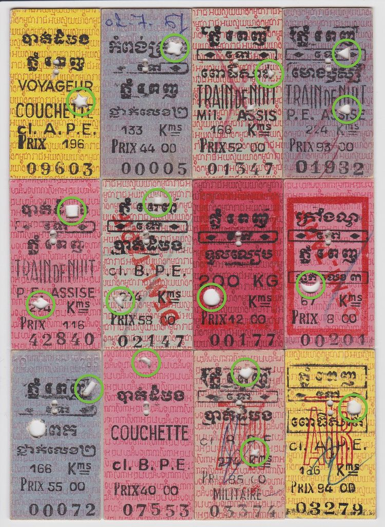 Cambodian Railway tickets, this one has 16 different punch holes - visitor sign in sheet template
