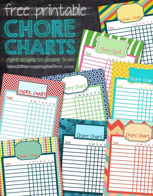 free printable chore charts eight different designs instant downloads
