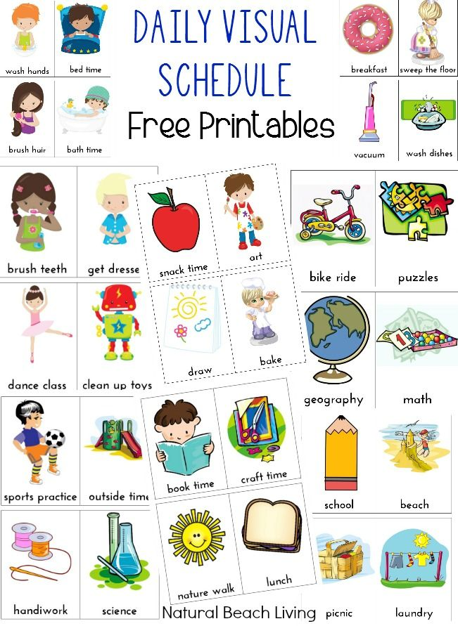 Daily visual schedule for kids free printable natural beach living pinterest schedules printables and autism also rh