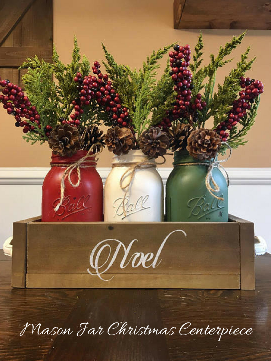 Mason Jar Rustic Christmas Centerpiece Affiliatelink