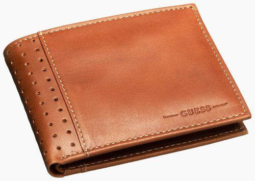 Guess Men/'s Brown Leather Billfold Passcase Wallet Brown
