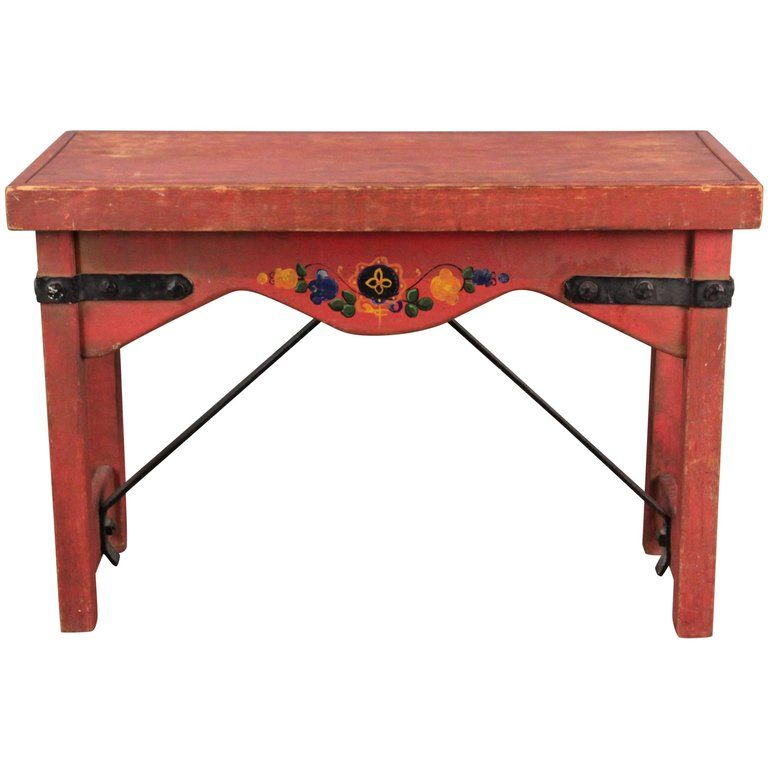 Tall Original Red Monterey Bench With Iron Stretcher