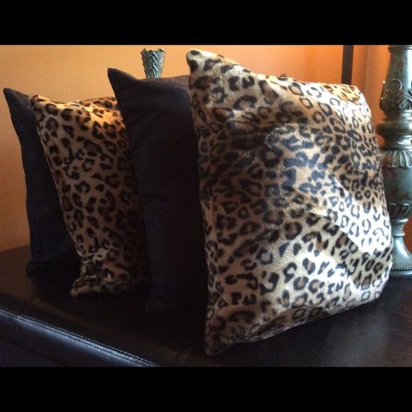 WOW SET OF 4 leopard/solid pillow covers Set of 4...2 leopard faux fur and 2 solid brown suede pillow covers 17 x 17. Brand New with hidden zippers. Great for any room of the house. I have several sets if you need more than one or need more leopard or solid brown color. Posh Spaces Other
