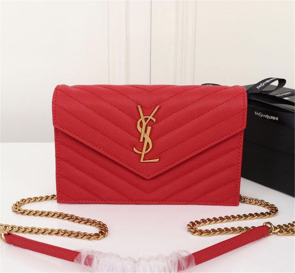 d486e5f683 2018 YSL Saint Laurent Monogram Wallet Chain Bag Shoulder Bag red leather  100%