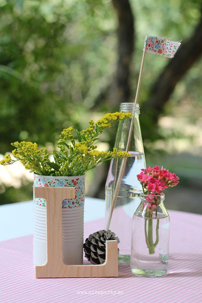 Nice party comuni n r stica en color rosa centro de mesa - Mesa de centro rustica ...