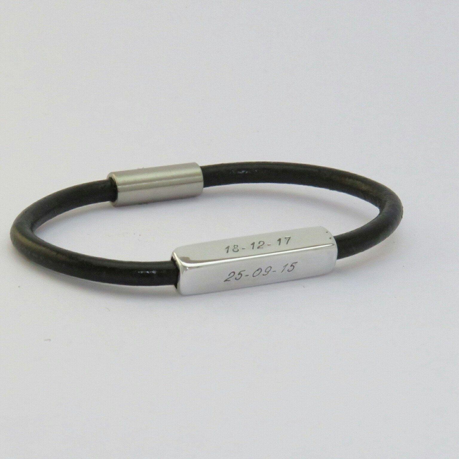 Men S Bracelet Engraved Bracelet Leather Bracelet Custom Men