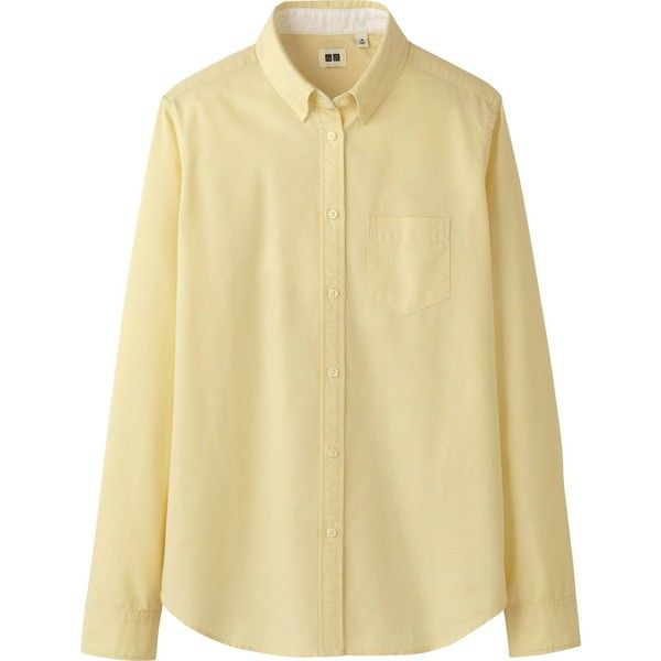 UNIQLO Women Oxford Long Sleeve Shirt ($3.90) ❤ liked on Polyvore featuring tops, blouses, shirts, shirts / blouses, cream, beige shirt, long sleeve blouse, shirts & blouses, cotton oxford shirt e cream blouse
