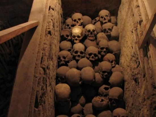 The grisly piles of skulls and bones are overwhelming in the Catacombs of Lima.