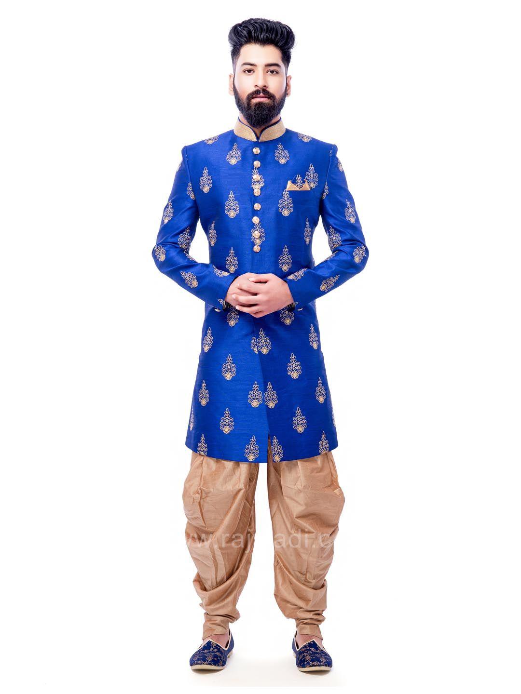 Blue color art silk indo western rajwadi indowestern trendy