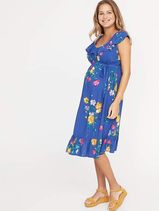 f06b4e8e8de Old Navy Maternity Ruffled Waist-Defined Tie-Belt Dress in 2019 ...