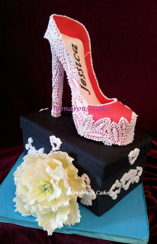 6 Inch High Heel Shoe Birthday Cake With Peony In Sugar Wondrous