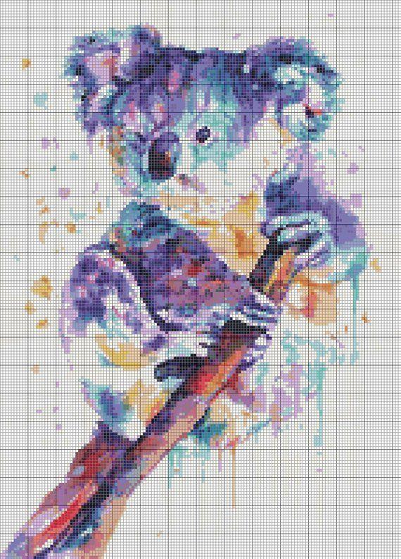 Photo of Koala cross stitch pattern. Room decor.Instant download PDF cross stitch pattern