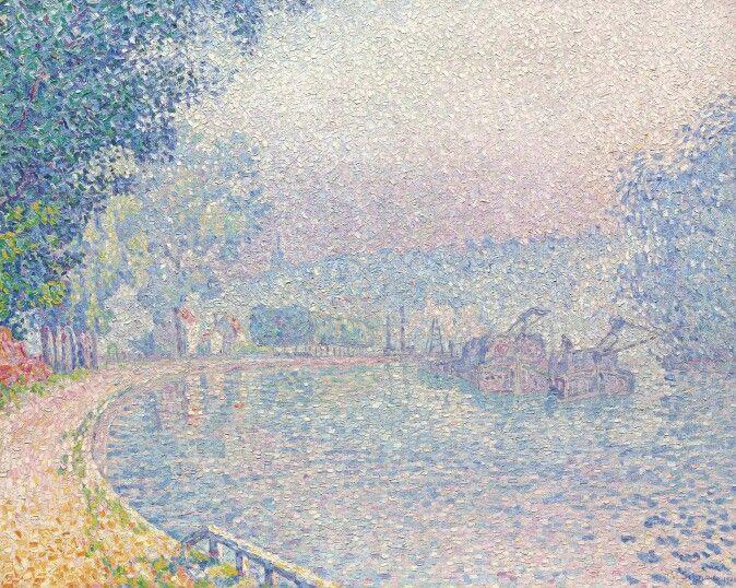 Samois, the Barge, Morning, 1901.  Paul Signac