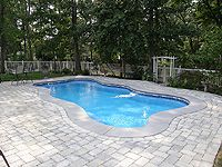 Light Grey Broomed Concrete Patio With Pavers Concrete Pool