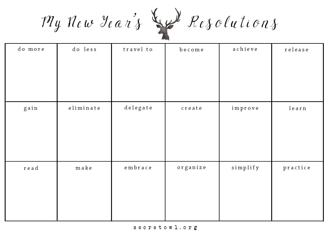 Free New Year Resolutions Printable