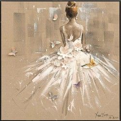 Tanečnice bílá - olej na plátně, obraz na zeď