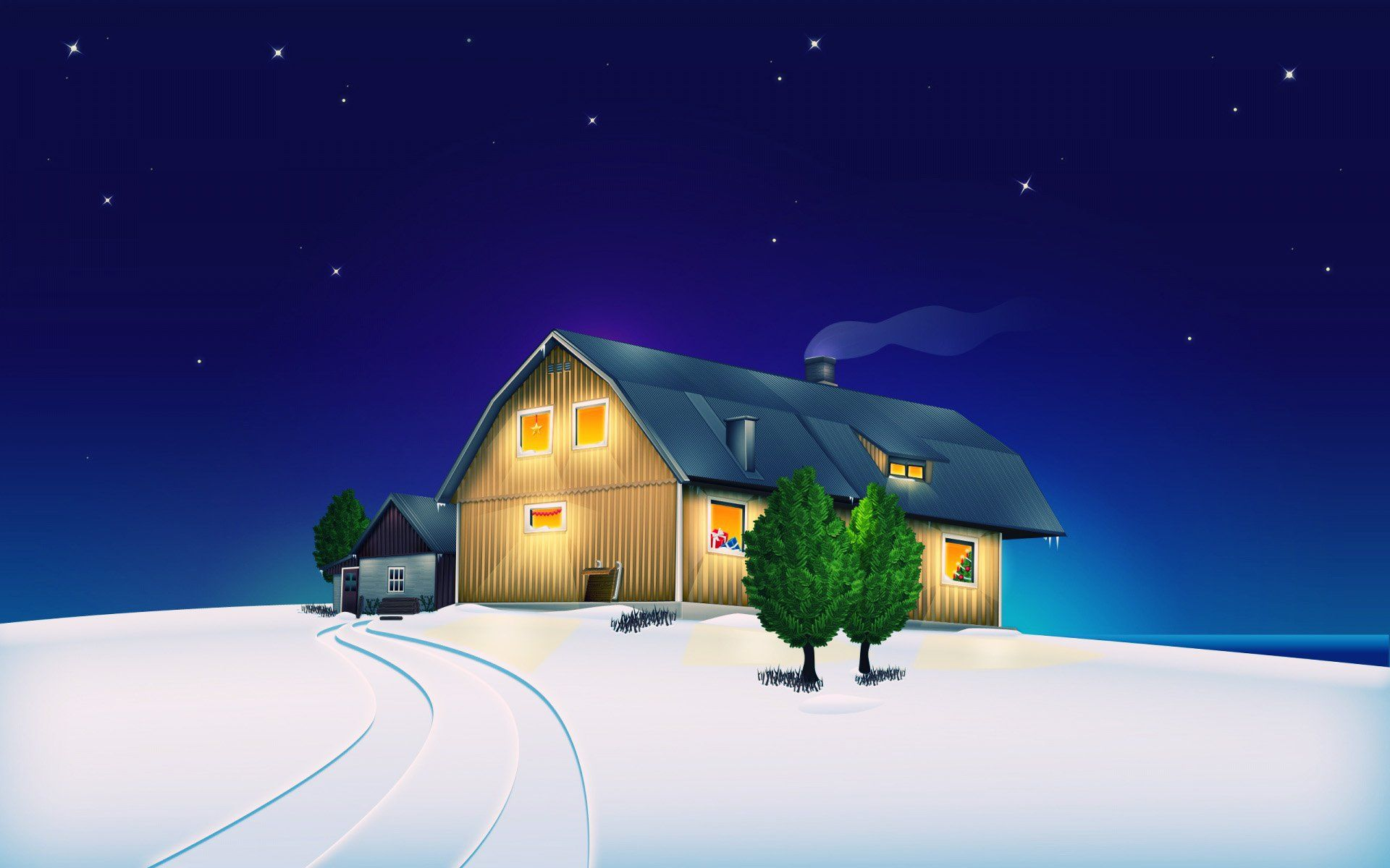 Animated Christmas House Wallpaper