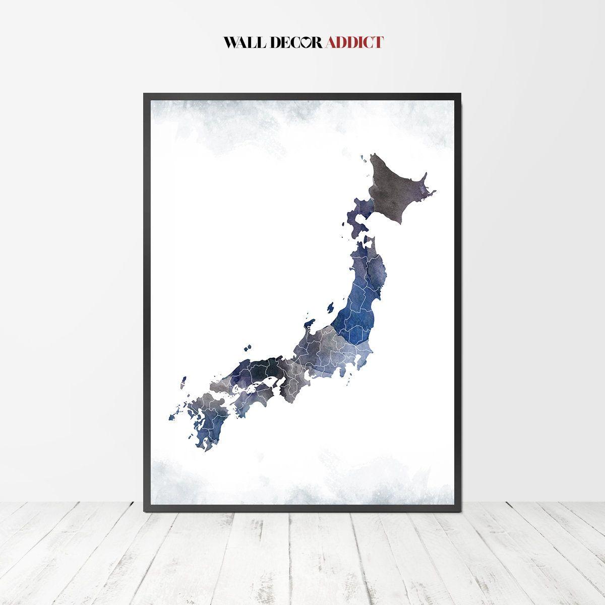 Japan art Japan Map Japan print Japan poster wall art Japan wall decor Gift poster